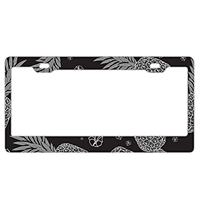 EXMENI Pineapple Black License Plate Frame Theft-Proof Frames Stainless Steel Board Frames: Sports & Outdoors
