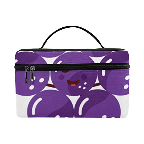 G Purple Fruit Fresh Grape Large Capacity Size Lady Cosmetic Bag Makeup Organizer Lunch Box Train Toiletry Case For Girls Teen Women Travel With Zipper And Single Layer