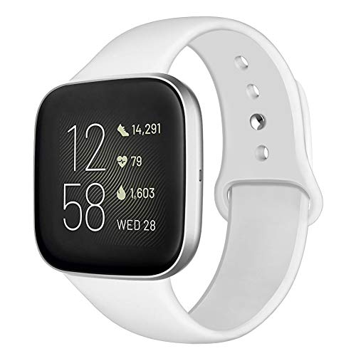 Kmasic Sport Band Compatible with Fitbit Versa/Fitbit Versa 2/Fitbit Versa Lite Edition, Soft Silicone Strap Replacement Wristband Versa Smart Fitness Watch, Large, White