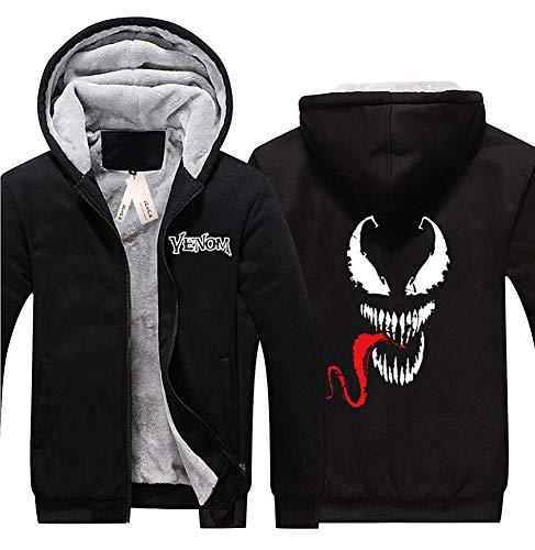 (JCvCX New Cosplay Venom Hoodie with Winter Fleece Zip Up Sweatshirt Halloween B2XL)