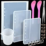 3Pcs Notebook Cover Resin Casting Molds for A5 A6 A7, LEOBRO 4Pcs 3-Rings Book Rings, 1Pcs Tweezer, 1Pcs Non-Stick Silicone Measuring Cup, 2 Pcs Plastic Red Spoons for Notebook Epoxy Resin DIY (Tamaño: style 3)