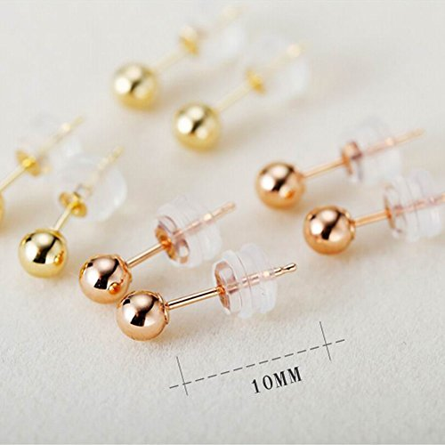 Paialco Solid 18K Rose Gold Tiny Ball Piercing Earring Studs 4MM by Paialco (Image #5)