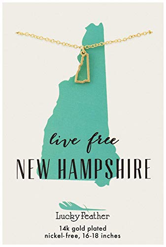 """Lucky Feather New Hampshire Shaped State Necklace, 14K Gold-Dipped Pendant on Adjustable 16""""-18"""" Chain"""
