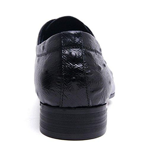 Uomo Ufficio Indossabile Scarpe Comodo Appuntito da Scarpe di Tendenza Blue Coreane Scarpe Traspirante in NIUMJ Pelle T4nA611