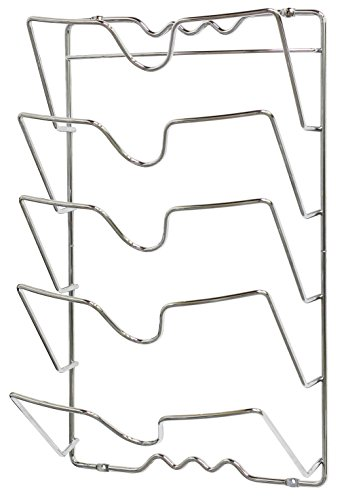 Large Product Image of DecoBros Wall Door Mounted Pot Lid Rack, Chrome Finish