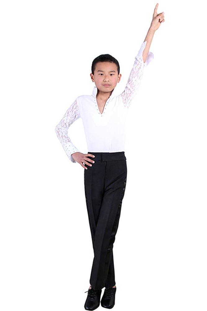 2aaad9f63 KINDOYO Niños Cordón Mangas Largas Clásico Latín Baile Moda Camisa  Profesional Actuación Ropa Escénica Disfraces Bailando Jazz Trajes   Amazon.es  Ropa y ...
