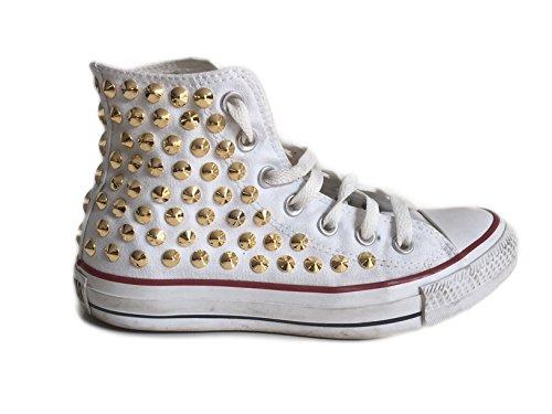 All Personalizzate Oro Converse alta Hi Borchie Con Star Bianco FxnSqdfg