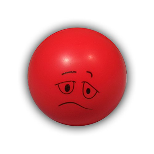 2 Pack Red Mini Neon Sad Face Hand Therapy & Stress Relief Balls. Great for Hand Exercises and Strengthening