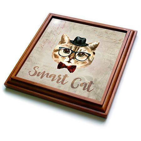 3dRose trv_274797_1 Funny Cat with Hat and Glasses Watercolor Illustration Trivet with Tile, 8 by 8''