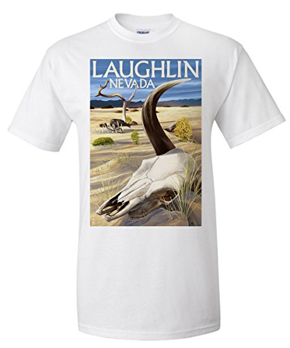 Cow Skull - Laughlin, Nevada (White T-Shirt - Images Nevada Of Laughlin