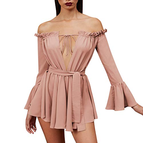 (4Clovers Women's Elegant Off Shoulder Swing Dress Sexy V Neck Pleated Flared Drop Hem Party Cocktail Dresses)