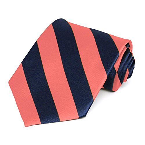 TieMart Bright Coral and Navy Blue Striped Tie