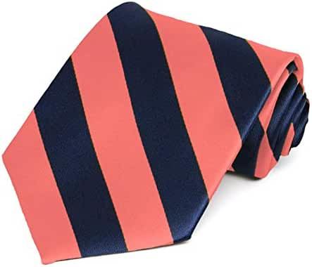 Coral and Navy Blue Striped Tie