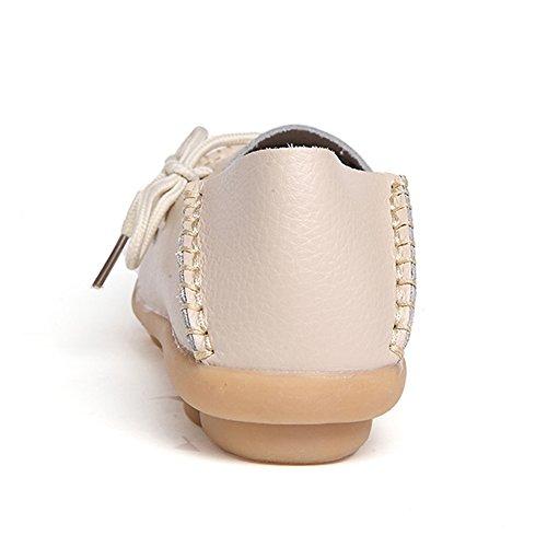 Modemarke beste Show Frauen Leder Loafers Wohnungen Casual Runde Zehe Mokassins Wild Breathable Driving Shoes Beige2