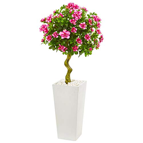 Nearly Natural 9297 4-Ft. Azalea Artificial Topiary White Tower Planter Silk Trees Pink