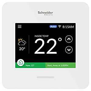 Schneider Electric Wiser Air Smart Thermostat Wi-Fi Programmable with Comfort Boost and Touch Screen Display (White)