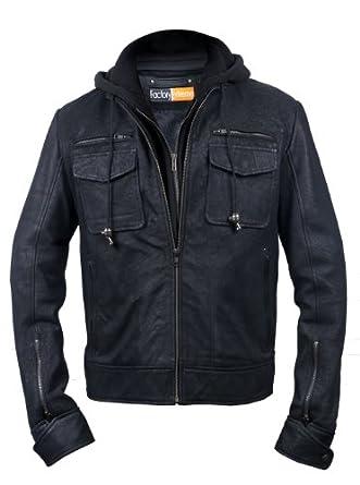 FactoryExtreme Pressido Mens Black Hoodie Biker Leather Jacket at