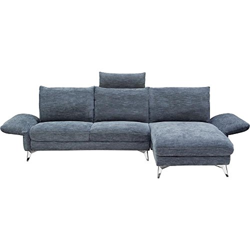 Geff RF Chaise Sectional in Dark Blue Fabric with Adjustable Arms