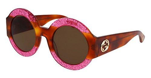 Gucci 0084 0084S 003 Fuchsia Havana Brown Glitter - Sunglasses Round Frame Gucci