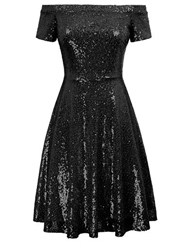 A-line Sequin - GRACE KARIN Women Sequin Bridesmaid Dress Short Sleeve Evening Prom Dresses Size L,Black
