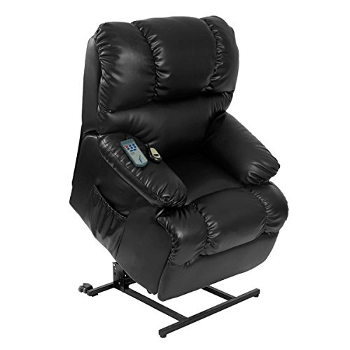 sillón levantapersonas negro masaje y calor