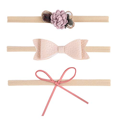 DEEKA Headbands Bows with Soft Nylon Elastic Headband 3PCS Hair Bows Hair Band for Baby Girls