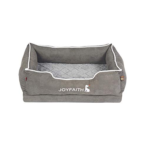 Gray Orthopedic Dog Bed, with Grooved Massage Sponge,New Washable, Purify Sleep, 3D Quilting and Buffer Massage