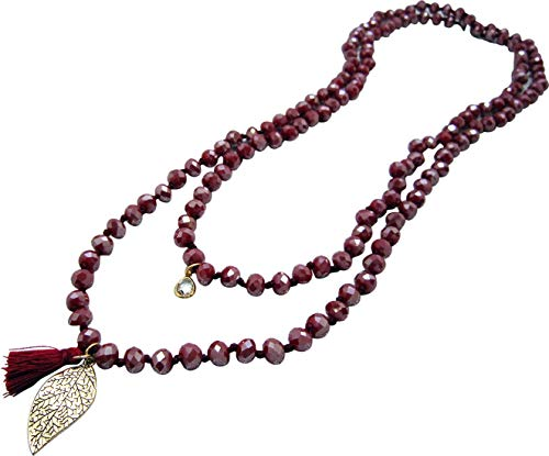 NOVAS Long Garnet Necklaces(60 Inches) with Tassel and Charms for Women/Men Multiple Strands Statement Necklace or as Bracelet Gift Idea for Your Girl Wife Mother