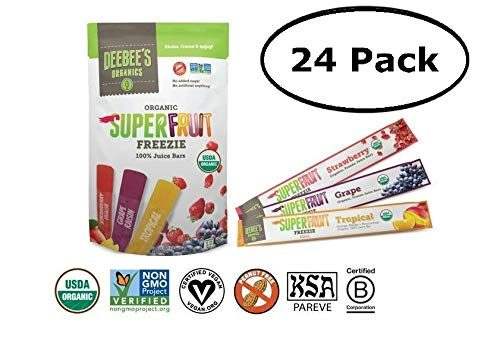 - DeeBee's 100% Organics Super Fruit Freezie Frozen Juice Bars - Grape, Strawberry and Tropical Fruit Popsicles - Nut, Gluten and Dairy-Free, No Added Sugars - Vegan, Kosher and Non-GMO (24 Pack)