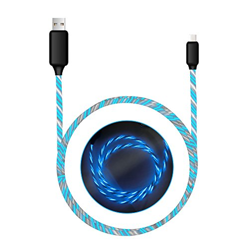 Type C Cable charger cable light up Visible Flowing EL Light LED Light USB C to USB 2.0 cable (3ft) Durable Charging Cord for Samsung Galaxy S8+ LG V30 G6 G5 Google Pixel Nexus 6P HTC and More?blue?