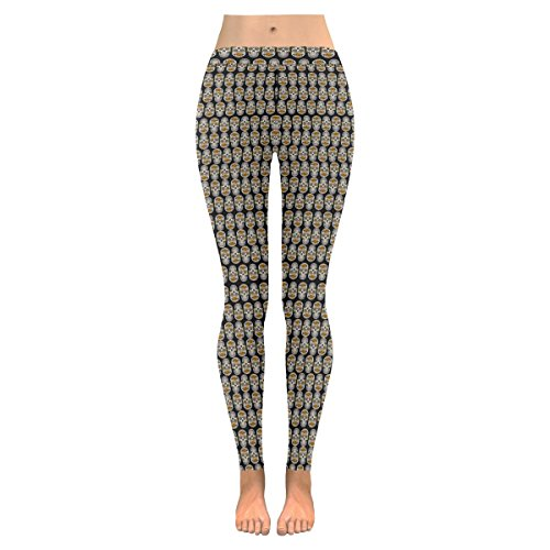 (Model L07) Design with Beautiful Sugar Skull Pattern for Women Girl's Yoga Workout All-Over Low Rise Leggings(Outside Serging) (Model Together Skull)