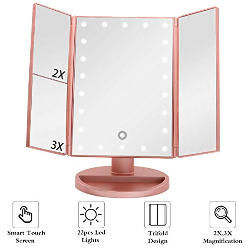 Lighted Makeup Mirror with Magnification, 22 Led Lights Vanity Mirror with Lights Touch Screen Switch, 180 Degree Rotation Dual Power Supply, Portable Trifold Tabletop Mirrors for Travel (rose golden)