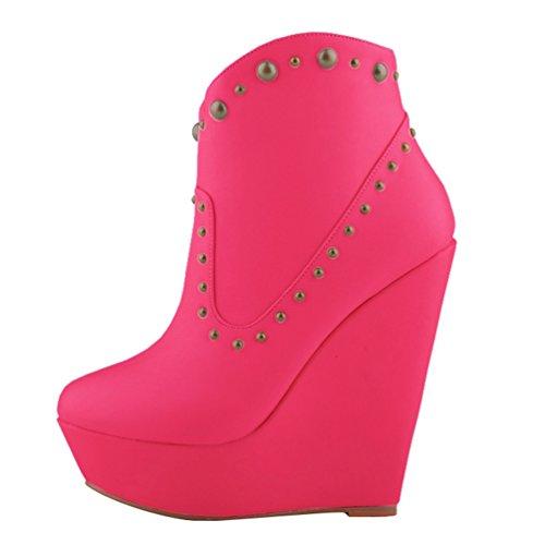Femmes Plates Haut Nouveaux WanYang Bottes Chaussures 02 Plateforme Hiver Automne Talon Rose Zqgfn