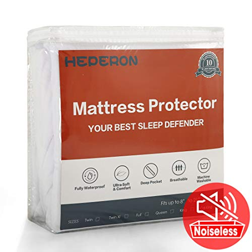 HEPERON Queen Size Premium 100% Waterproof Mattress Protector, Mattress Pad Cover, Vinyl-Free, Comfortable & Noiseless, Fitted for 8