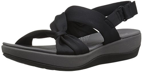 (CLARKS Women's Arla Primrose Sandal, Black Fabric, 8 Medium US)