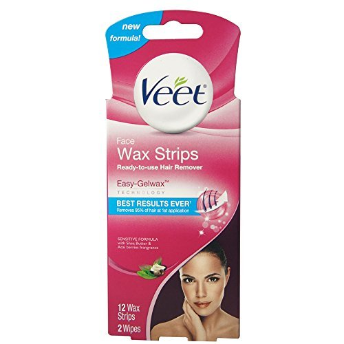 (VEET Ready-To-Use-Wax-Strips Hair Remover Face 12 ea)