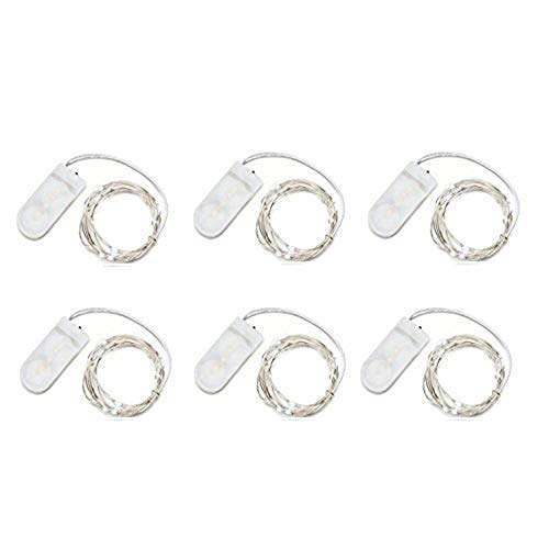 iMagitek 6 Pack 7Ft 20LED Waterproof Fairy Lights Silver Wire Lights LED Moon Lights for Wedding Centerpiece, Party, Table Decorations, Christmas, Thanksgiving, Crafting Costume Making - Warm -