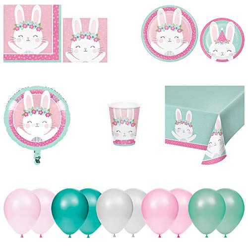 Disposable Plates, Napkins, Cups, Tablecloth, Foil Balloon, and Balloons - Birthday Bunny Theme 8pc Party Pack