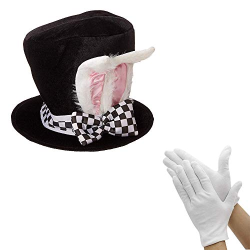 at White Rabbit Ear Costume Accessory with White Gloves ()