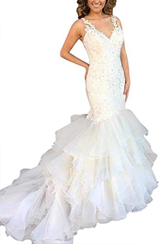 HerDress Womens Mermaid Wedding Dresses for Bride 2018 Sleeveless Illusion Back Wedding Ball Gown with Ruffled Train