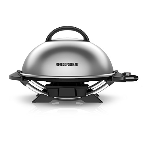 (George Foreman 15-Serving Indoor/Outdoor Electric Grill, Silver, GFO240S)