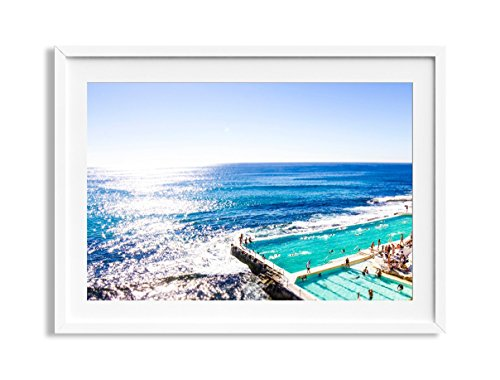 30x42'' Framed Extra Large ''Icy Dip'' Bondi Beach Australia Aerial Beach Photography Print by Daydrift