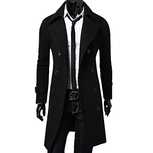Zeagoo Men's Trench Coat Winter Long Jacket Double Breasted Overcoat