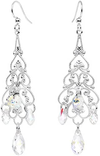 Body Candy Handcrafted Silver Plated Clear Chandelier Earrings Created with Swarovski Crystals