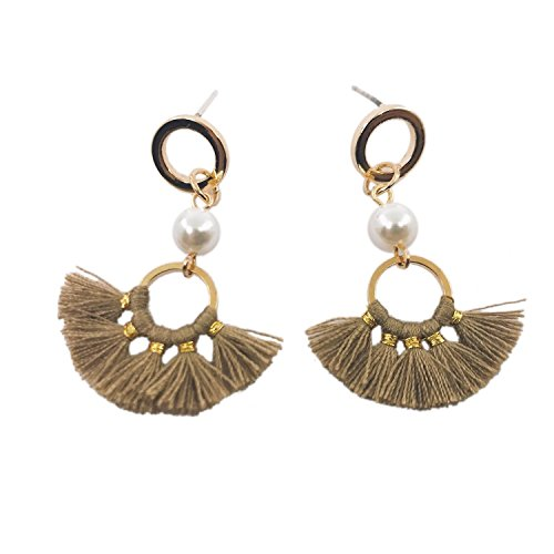 CATCHICY Fancy Short Fan-shaped Tassel Earrings with Round Stitching Alloy and Pearl Chic Simple and Elegant Daily Outfit (Light Brown)