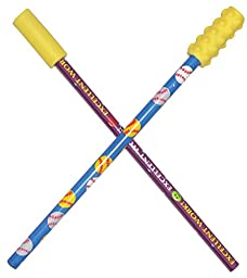 School Specialty CSPT1000 Oral Motor Chew Stixx Pencil Toppers, Smooth and Textured, Yellow
