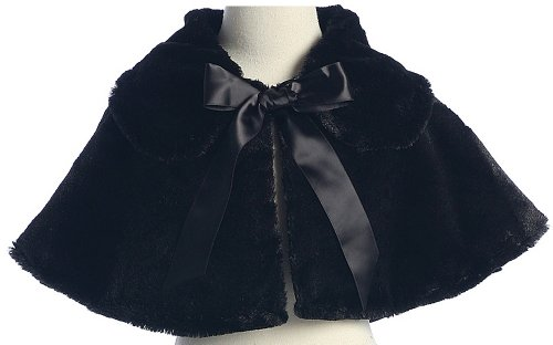 [Black Girl's Soft Faux Fur Cape with Satin Tie - Size 10] (Black And White Cape)