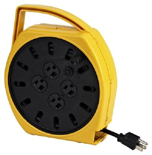 KH Industries RTF Series ReelTuff Industrial Grade Retractable Power Cord Reel, 12/4 SOOW Cable, 16 Amp, 30' Length, Yellow Powder Coat Finish
