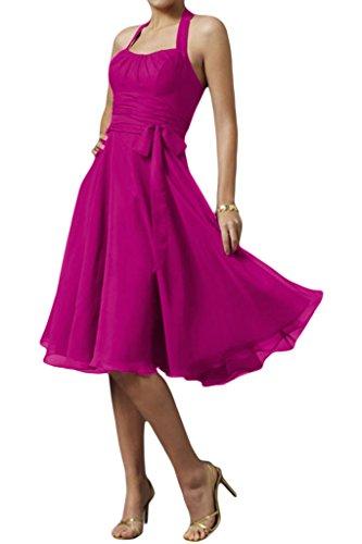 Bride Cocktailkleid Neckholder Fuchsia Schleife Knielang Modern Chiffon Abendkleid Partykleid Gorgeous gxFwd7qCg