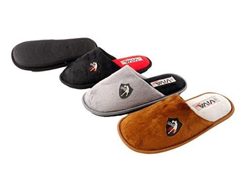 brandsseller - Zapatillas de estar por casa de Material Sintético para hombre Negro - blanco / rojo